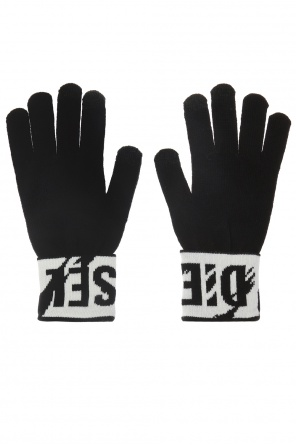 Logo-embroidered gloves od Diesel