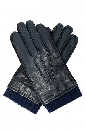 Skórzane rękawice z efektem znoszenia od Paul Smith