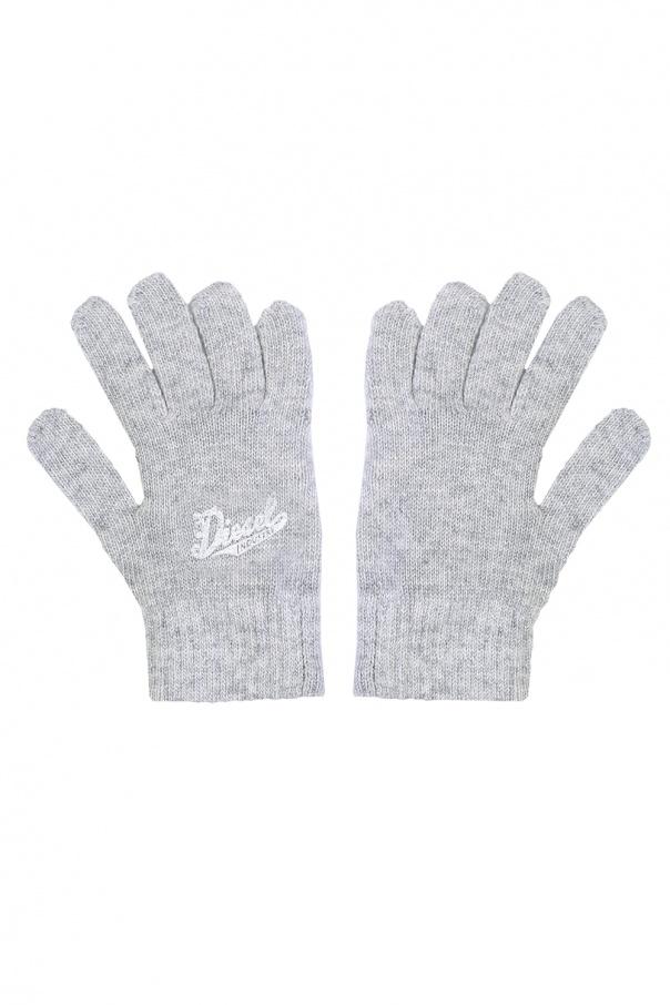 Diesel Kids Logo-printed gloves