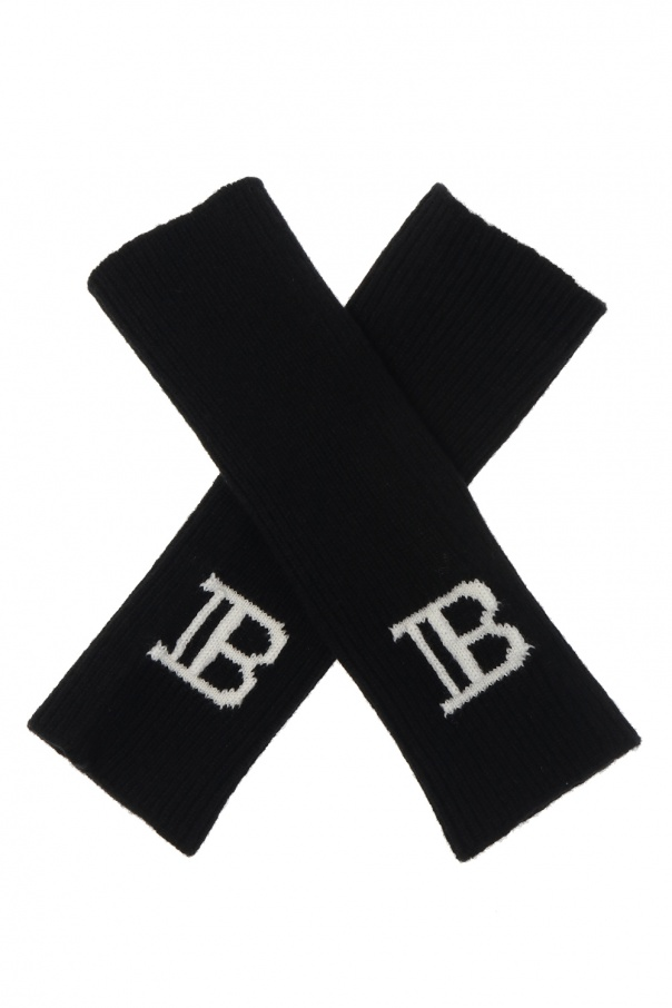 Balmain Fingerless gloves with logo
