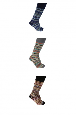 Three-pack of socks with an embroidered striped pattern od Paul Smith