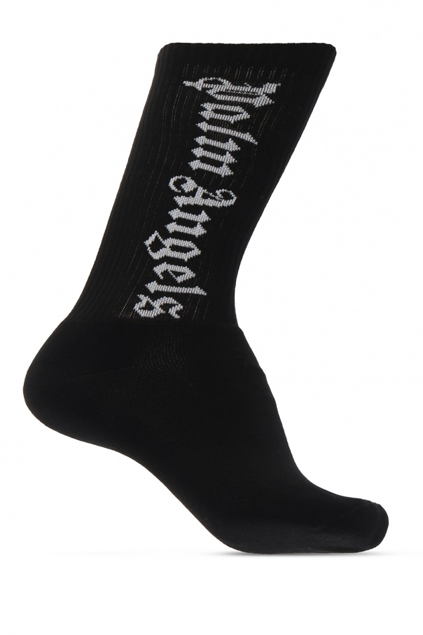 Palm Angels Logo-embroidered socks