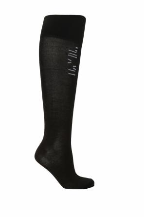 Knee-high socks with embroidered logo od Unravel Project