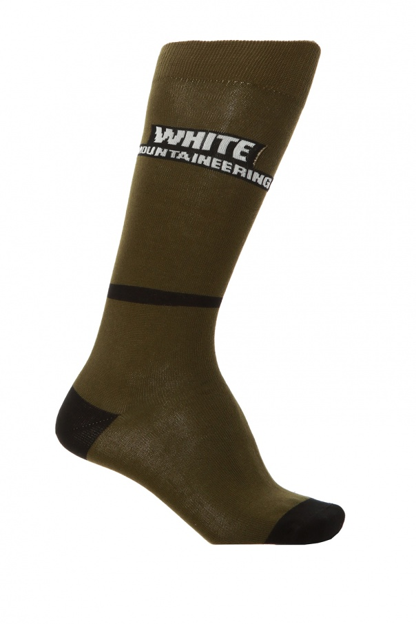 White Mountaineering Long logo socks