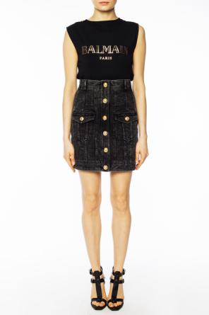 Stonewashed denim skirt od Balmain