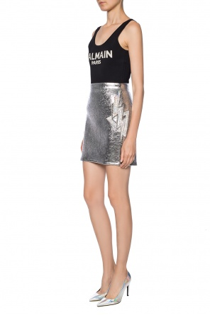 Sequinned-appliqué skirt od Balmain