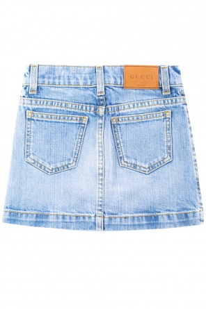 Patched denim skirt od Gucci Kids