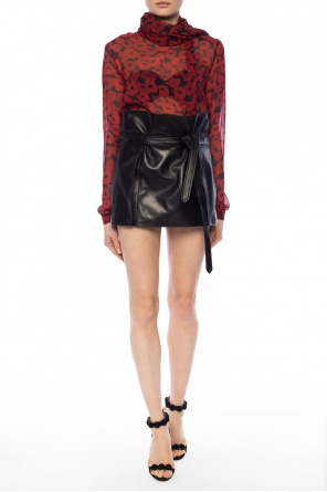 Lacing detail leather skirt od Saint Laurent