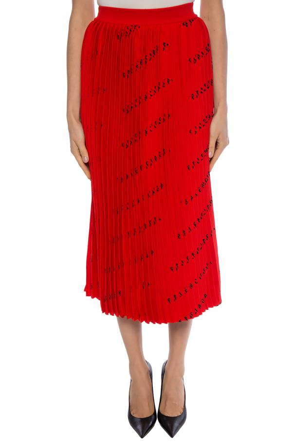 Pleated skirt with logo pattern od Balenciaga