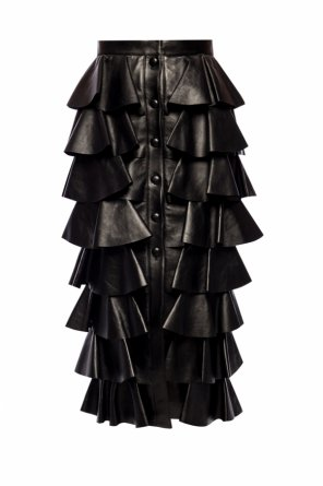 Ruffled leather skirt od Saint Laurent