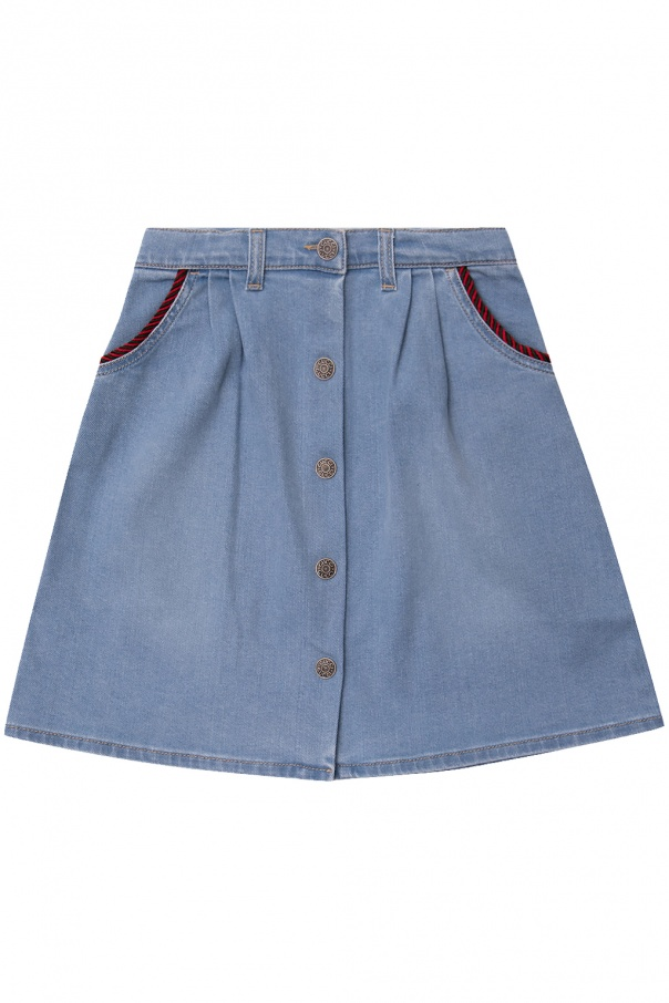 Gucci Kids Denim skirt with logo