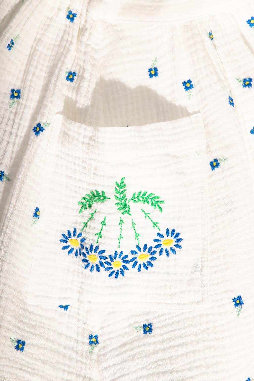 Stella McCartney Kids Floral-embroidered skirt