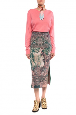 Patterned skirt with a slit od Etro