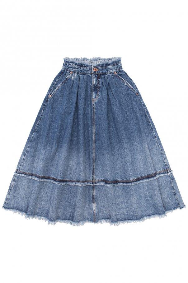 Diesel Kids Raw-trimmed denim skirt