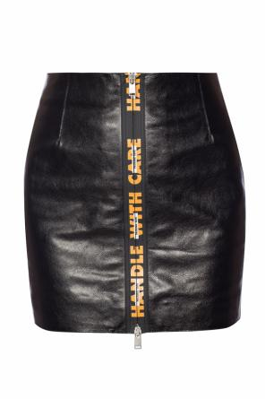 Leather skirt with a print od Heron Preston