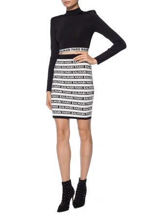 Skirt with embroidered stripes and logo od Balmain