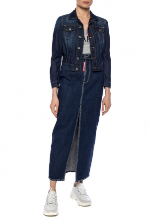 Long denim skirt with a slit od Dsquared2
