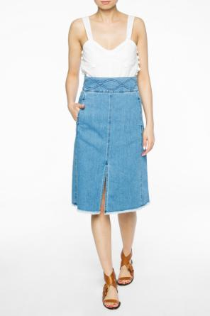 Raw-trimmed denim skirt od See By Chloe