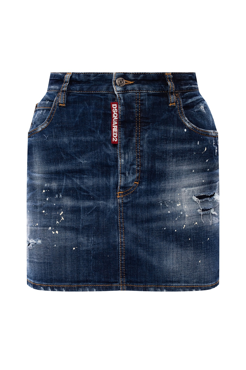 Dsquared2 Denim skirt with raw edge