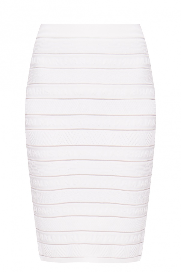 Balmain Pencil skirt with logo