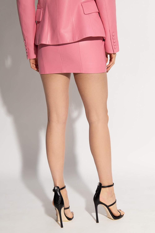Balmain Skórzana spódnica z wysokim stanem