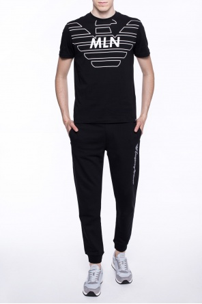 Logo-embroidered sweatpants od Emporio Armani