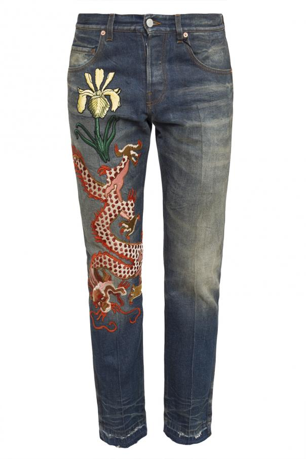 Embroidered jeans od Gucci