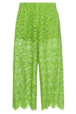 Cropped flared lace trousers od Gucci
