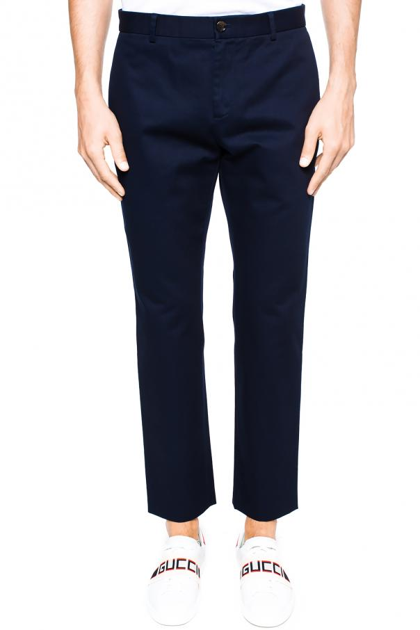 Logo-embroidered trousers od Gucci