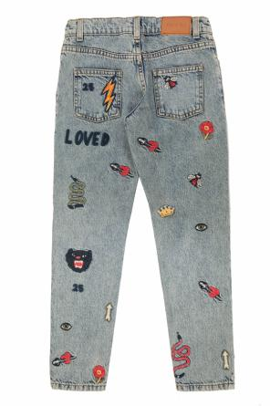 Patched jeans od Gucci Kids