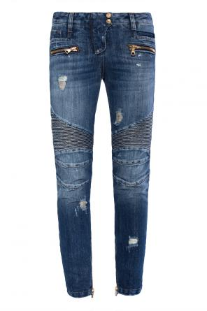 Distressed jeans with stitching details od Balmain