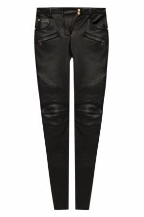 Leather biker trousers od Balmain