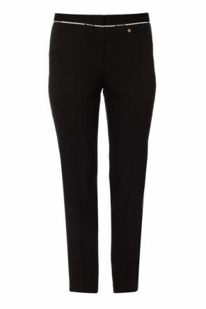 Side-stripe pleat-front trousers od Versace