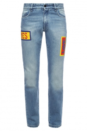 Printed tapered jeans od Fendi