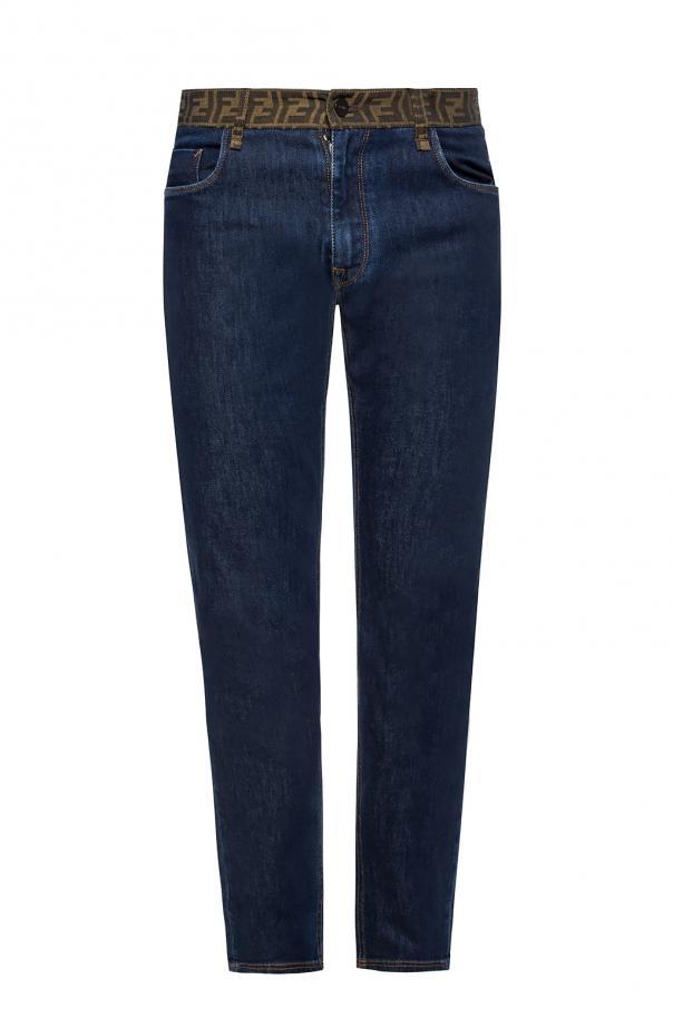 Fendi Logo-embroidered jeans