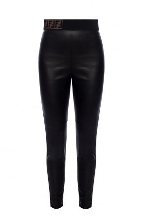 Leather trousers with logo od Fendi