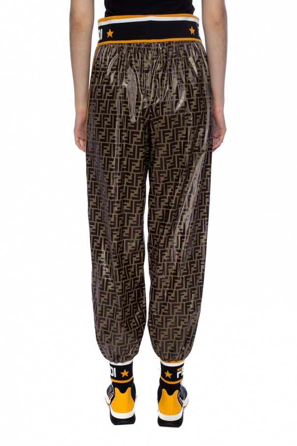 Logo-embroidered trousers od Fendi