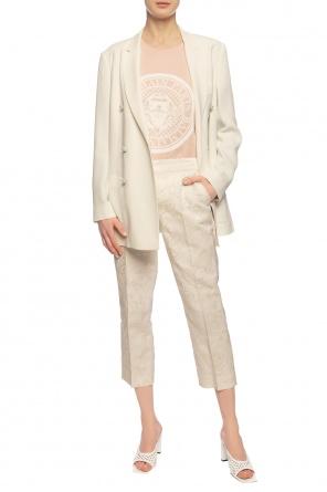 Spodnie w kant z motywem kwiatowym od Dolce & Gabbana