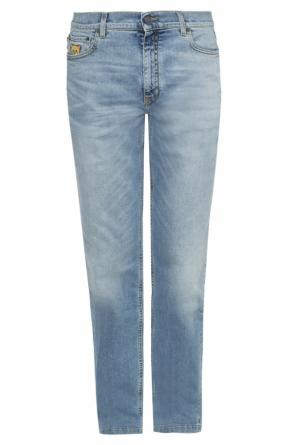 Teddy bear-embroidered jeans od Moschino