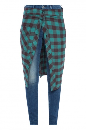 Skinny jeans with checked skirt od Golden Goose