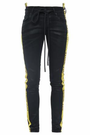 Waxed side-stripe skinny jeans od Off White