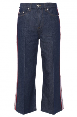 Side-stripe flared cropped jeans od Valentino Red