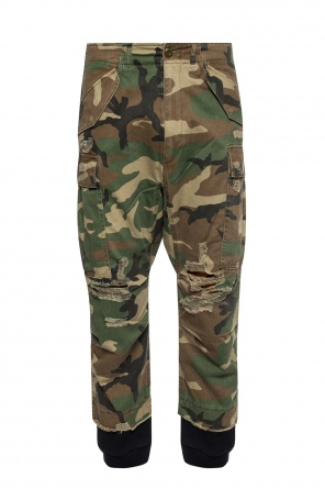 Trousers with a camo pattern od R13