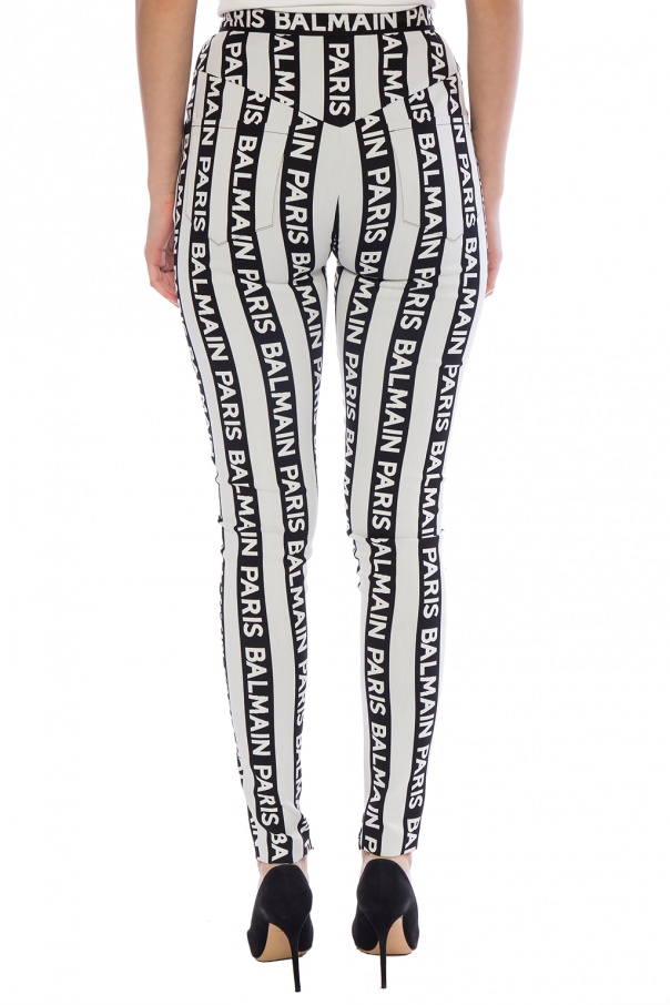 Logo-patterned trousers od Balmain