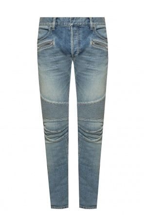 Jeans with ribbed inserts od Balmain