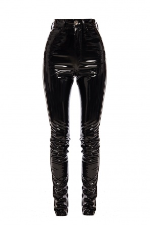 High-waisted latex trousers od Maison Margiela