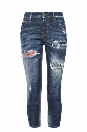 Jeans with tears and a colorful pattern od Dsquared2