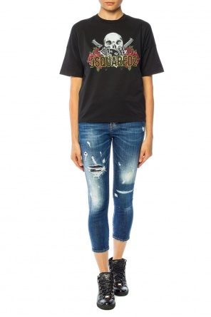 Jeansy z dziurami 'cool girl cropped jean' od Dsquared2