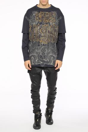 Leather trousers with dropped crotch od Balmain
