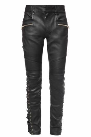 Leather trousers with lacing od Balmain